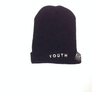 KLV Headwear Youth Winter Hat One Size Black White